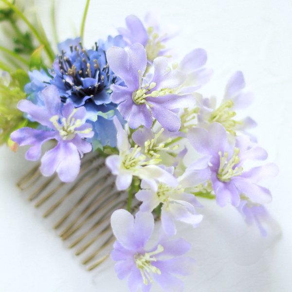 アーティフィシャルフラワー(造花)の矢車草の髪飾り(ブルー)_airaka
