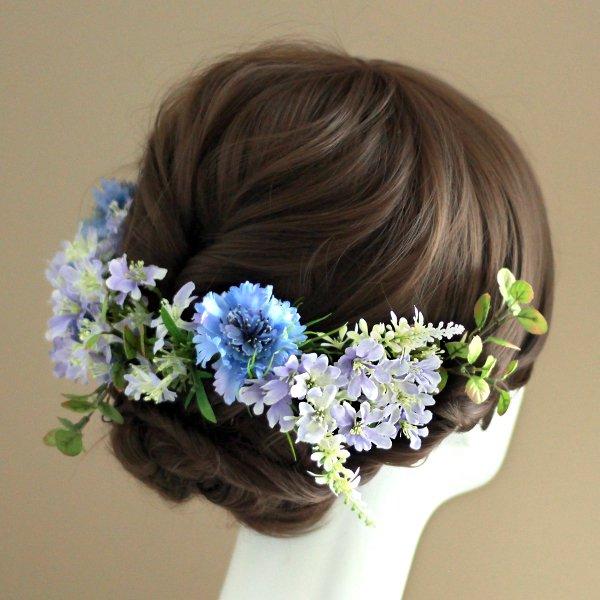 アーティフィシャルフラワー(造花)の矢車草の髪飾り(ブルー)画像_airaka