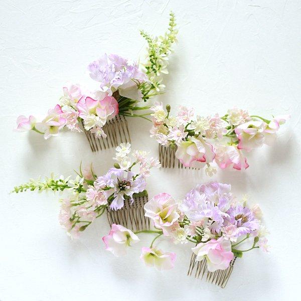 アーティフィシャルフラワー(造花)の矢車草の髪飾り(ピンク)_airaka