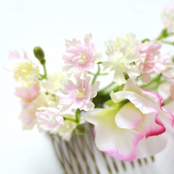 アーティフィシャルフラワー(造花)の矢車草の髪飾り(ピンク)画像_airaka