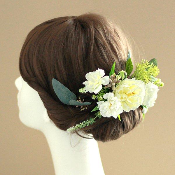 アーティフィシャルフラワー(造花)のバラとユーカリの髪飾り(白)画像_airaka