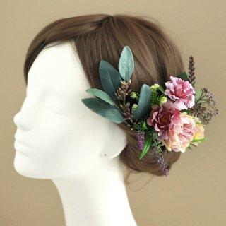 アーティフィシャルフラワー(造花)のバラとユーカリの髪飾り(紫)画像_airaka