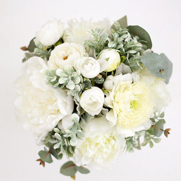 アーティフィシャルフラワー(造花)の芍薬とマーブルグリーンのクラッチブーケ画像_airaka