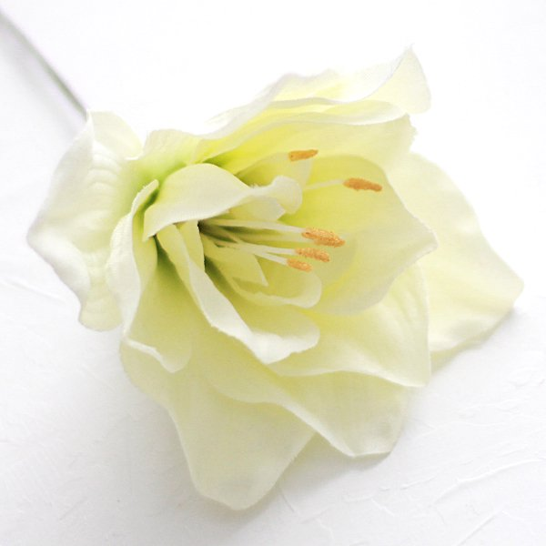 アーティフィシャルフラワー(造花)のアマリリスの髪飾り(白)画像_airaka