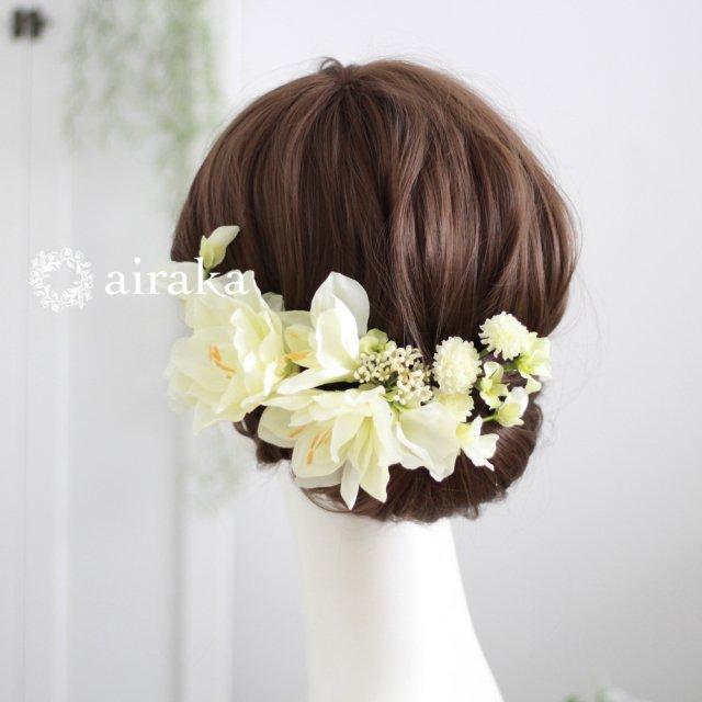 アマリリスの髪飾り(白)画像_airaka