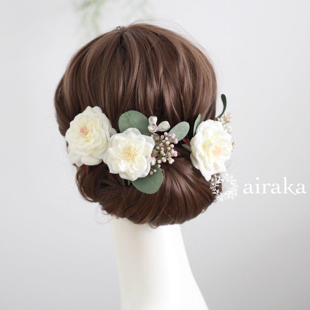 アーティフィシャルフラワー(造花)のアンティークベリーとバラの髪飾り(白)_airaka