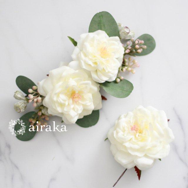 アーティフィシャルフラワー(造花)のアンティークベリーとバラの髪飾り(白)画像_airaka