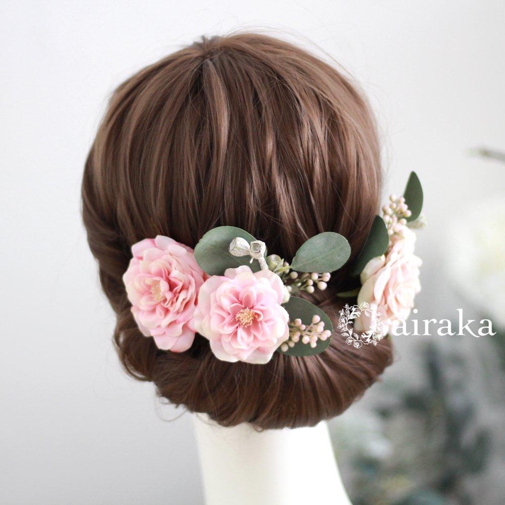 アーティフィシャルフラワー(造花)のアンティークベリーとバラの髪飾り(ピンク)_airaka