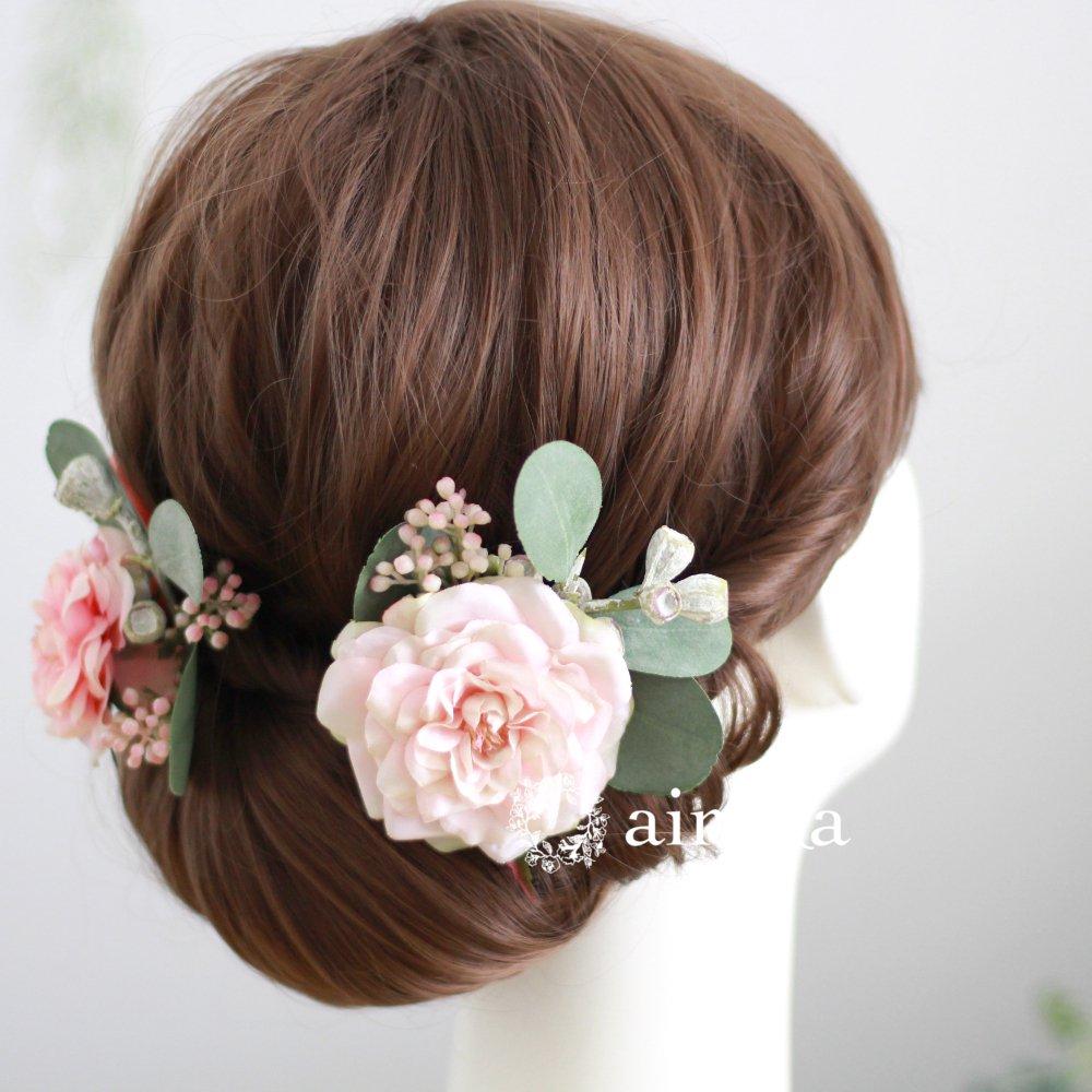 アーティフィシャルフラワー(造花)の髪飾り/アンティークベリーとバラ(ピンク)画像_airaka