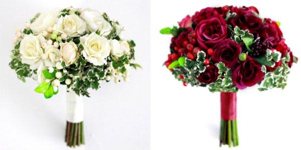 アーティフィシャルフラワー(造花)のバラとフレッシュベリーのクラッチブーケ(赤)_airaka