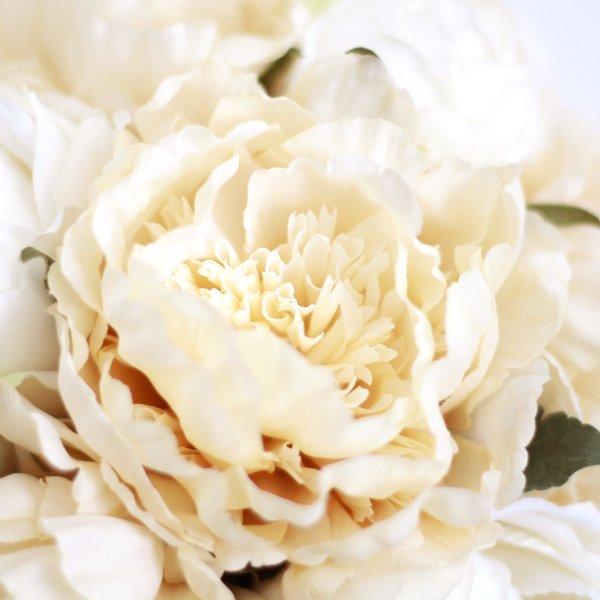 アーティフィシャルフラワー(造花)の芍薬のクラッチブーケ(アンティークホワイト)画像_airaka