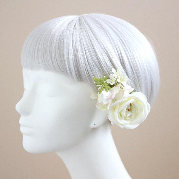 アーティフィシャルフラワー(造花)のピュアローズの髪飾り(ピンク)_airaka
