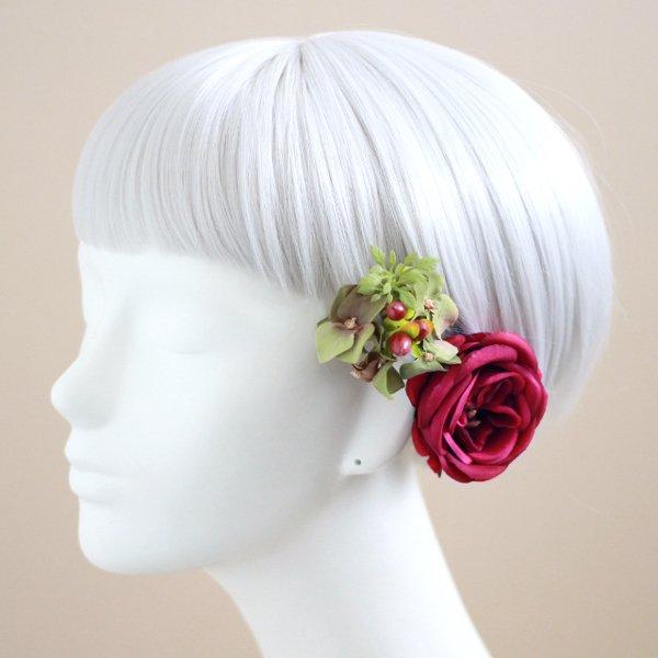 アーティフィシャルフラワー(造花)のピュアローズの髪飾り(赤)_airaka