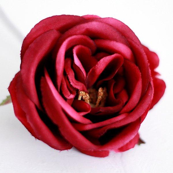 アーティフィシャルフラワー(造花)のピュアローズの髪飾り(赤)画像_airaka