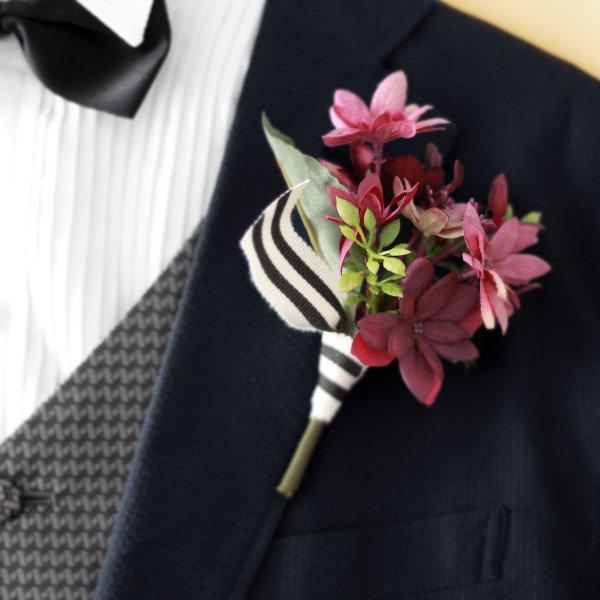 アーティフィシャルフラワー(造花)の芍薬のクラッチブーケ(アンティークレッド)_airaka