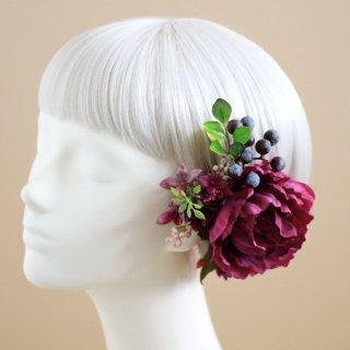 アーティフィシャルフラワー(造花)の芍薬の髪飾り(アンティークレッド)画像_airaka