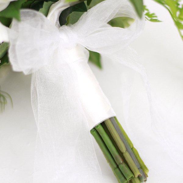 アーティフィシャルフラワー(造花)のダリアのクラッチブーケ(白)_airaka