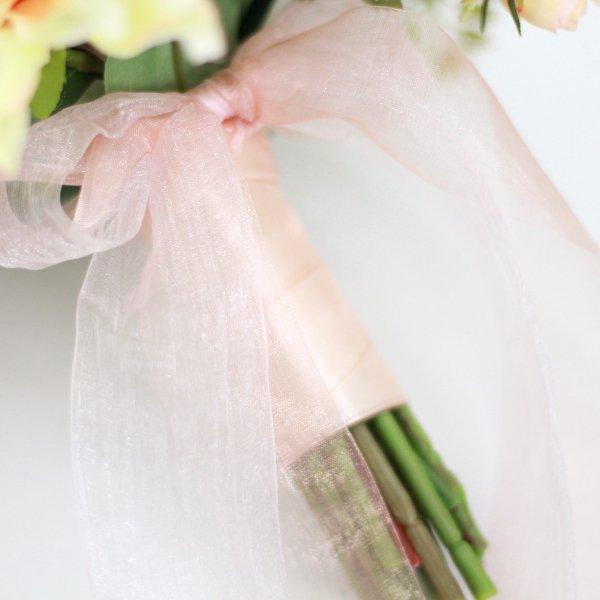 アーティフィシャルフラワー(造花)のダリアのクラッチブーケ(コーラル)_airaka