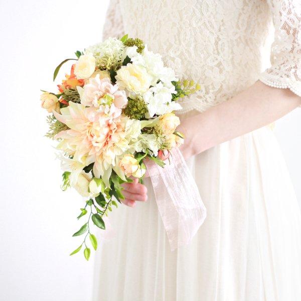 アーティフィシャルフラワー(造花)のダリアのティアドロップブーケ(コーラル)_airaka