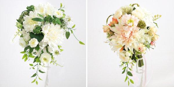 アーティフィシャルフラワー(造花)のダリアのティアドロップブーケ(コーラル)画像_airaka