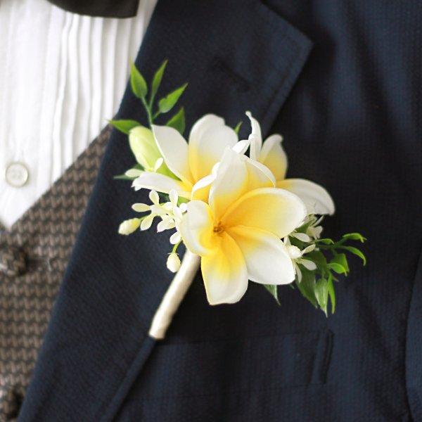 アーティフィシャルフラワー(造花)のプルメリアのクラッチブーケと花冠のセット(白黄)_airaka