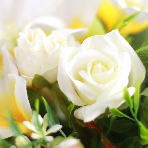 アーティフィシャルフラワー(造花)のプルメリアのクラッチブーケと花冠のセット(白黄)画像_airaka