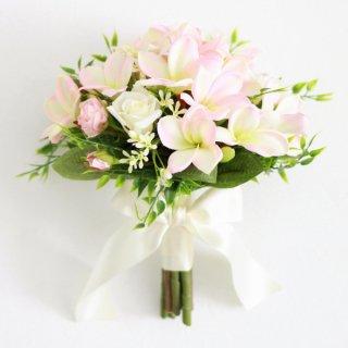 アーティフィシャルフラワー(造花)のプルメリアのクラッチブーケと花冠のセット(ピンク)画像_airaka