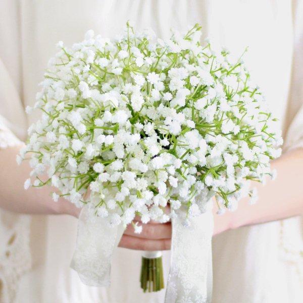 アーティフィシャルフラワー(造花)のかすみ草のクラッチブーケ画像_airaka