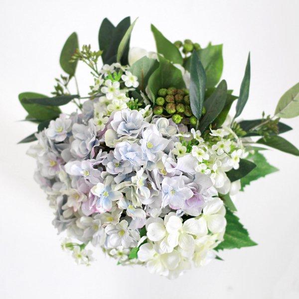 アーティフィシャルフラワー(造花)の紫陽花のクラッチブーケと髪飾りのセット(青)画像_airaka