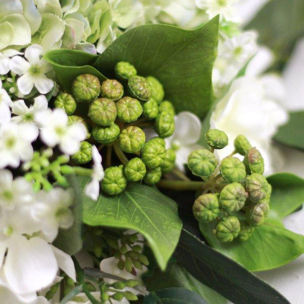 アーティフィシャルフラワー(造花)の紫陽花のクラッチブーケと髪飾りのセット(緑)画像_airaka