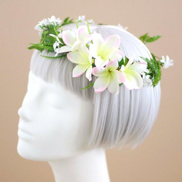 アーティフィシャルフラワー(造花)のプルメリアのクラッチブーケと花冠のセット(ピンク)_airaka