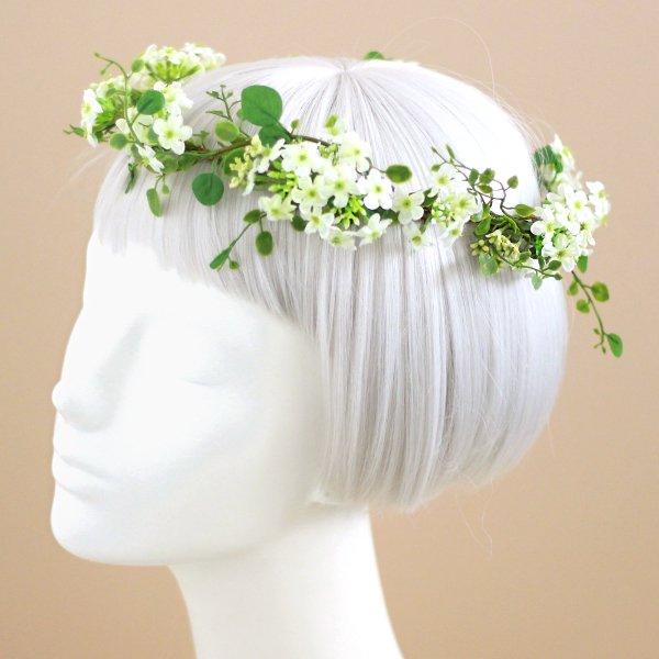 アーティフィシャルフラワー(造花)の白い小花の花冠画像_airaka