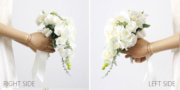 アーティフィシャルフラワー(造花)の胡蝶蘭のティアドロップブーケ(白)画像_airaka