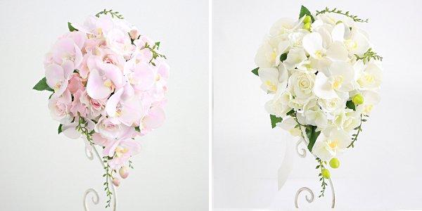 アーティフィシャルフラワー(造花)の胡蝶蘭のティアドロップブーケ(ピンク)画像_airaka