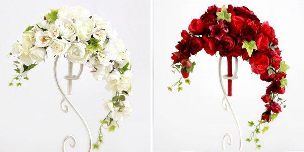 アーティフィシャルフラワー(造花)のガーデンローズのクレッセントブーケ(白)_airaka