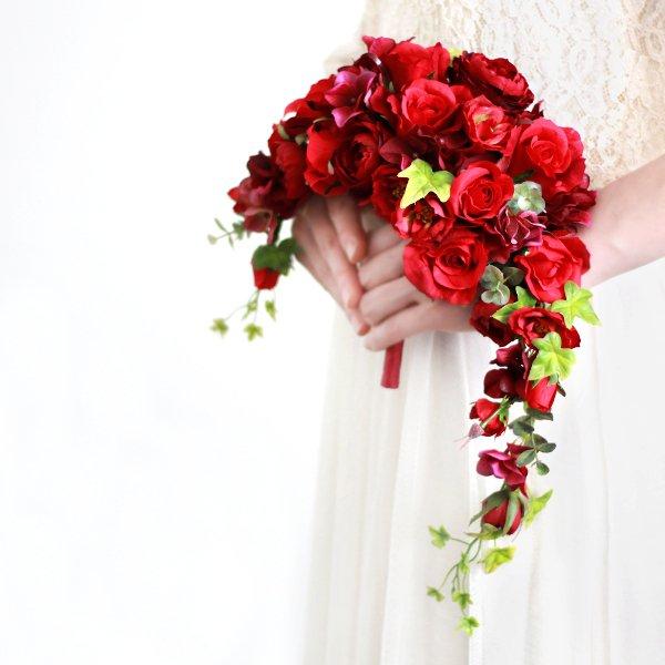 アーティフィシャルフラワー(造花)のガーデンローズのクレッセントブーケ(赤)_airaka