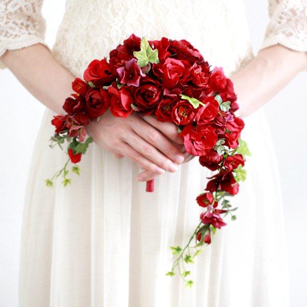 アーティフィシャルフラワー(造花)のガーデンローズのクレッセントブーケ(赤)画像_airaka
