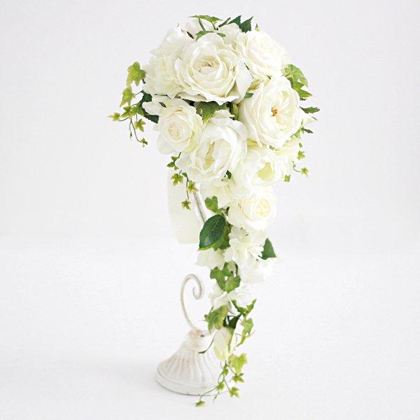 アーティフィシャルフラワー(造花)のガーデンローズのキャスケードブーケ(白)_airaka