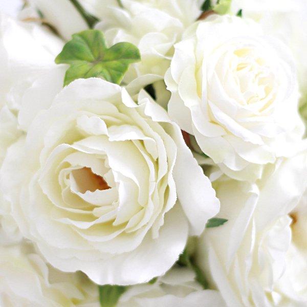 アーティフィシャルフラワー(造花)のガーデンローズのキャスケードブーケ(白)画像_airaka
