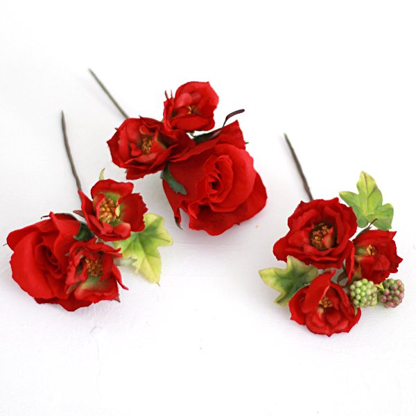 アーティフィシャルフラワー(造花)のガーデンローズの髪飾り(赤)画像_airaka