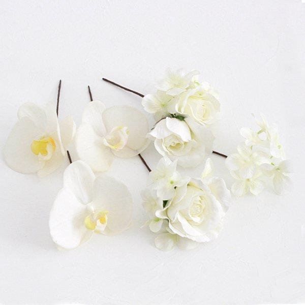 アーティフィシャルフラワー(造花)の胡蝶蘭とバラの髪飾り(白)_airaka