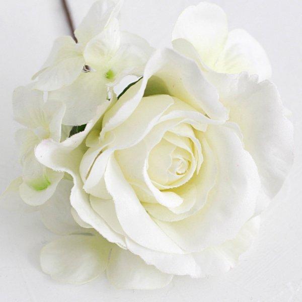 アーティフィシャルフラワー(造花)の胡蝶蘭とバラの髪飾り(白)画像_airaka