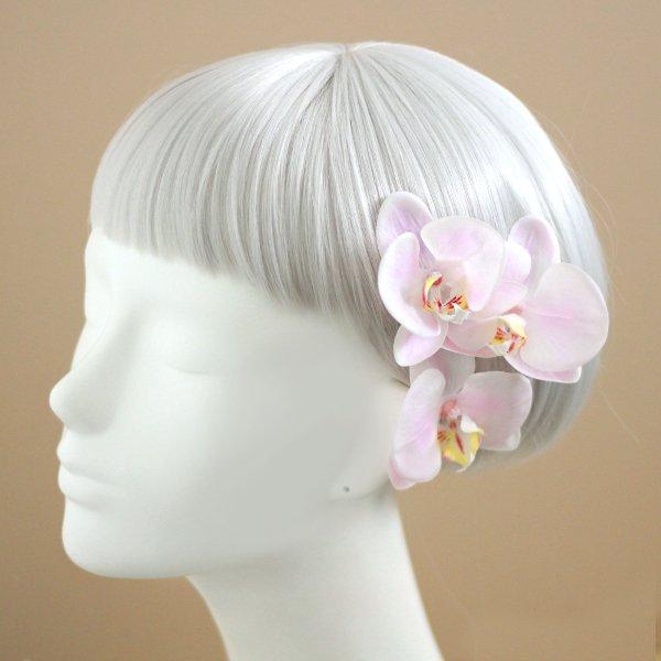 アーティフィシャルフラワー(造花)の胡蝶蘭とバラの髪飾り(ピンク)画像_airaka