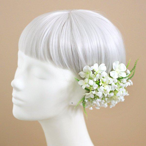 アーティフィシャルフラワー(造花)のかすみ草と小花の髪飾り画像_airaka