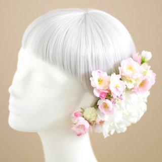 アーティフィシャルフラワー(造花)の桜と芍薬の髪飾り(白)画像_airaka