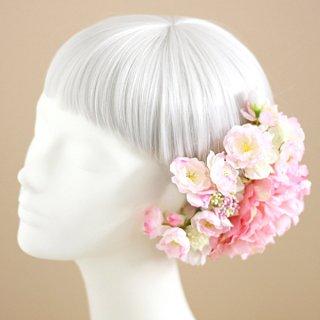 アーティフィシャルフラワー(造花)の桜と芍薬の髪飾り(ピンク)画像_airaka