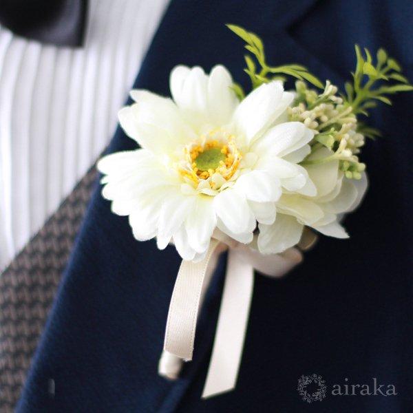 アーティフィシャルフラワー(造花)のガーベラのラウンドブーケ(白)_airaka