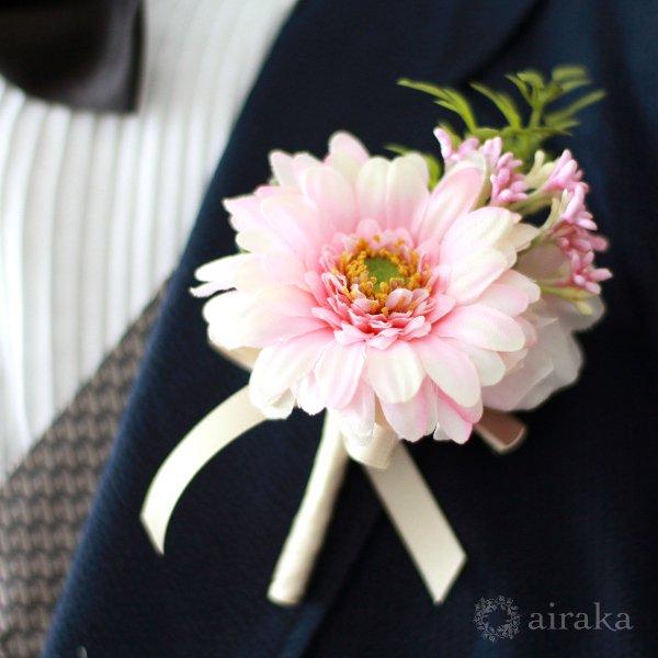 アーティフィシャルフラワー(造花)のガーベラのラウンドブーケ(ピンク)_airaka