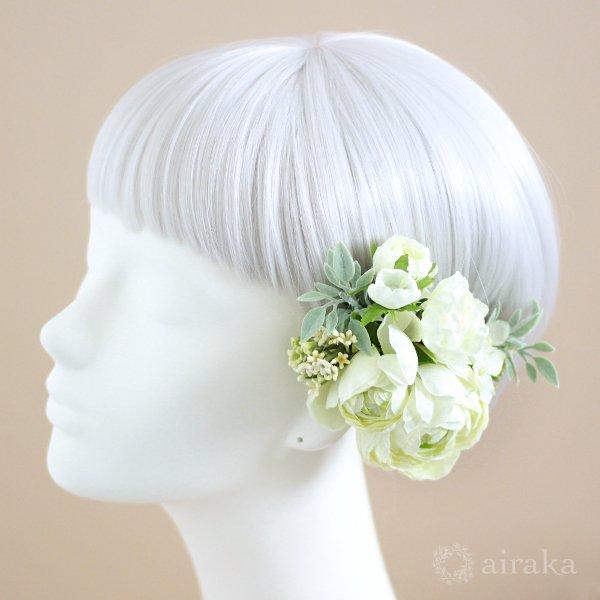 アーティフィシャルフラワー(造花)のラナンキュラスのクラッチブーケと髪飾りのセット(白)画像_airaka