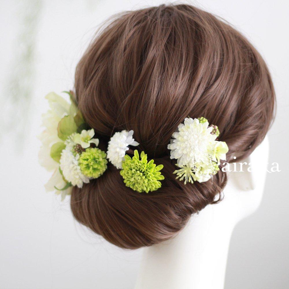 アーティフィシャルフラワー(造花)の芍薬とポンポンマムの髪飾り(白)画像_airaka